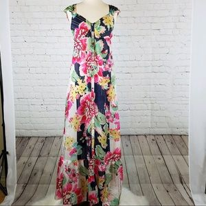 Johnny Was Silk Floral Maxi Dress Size S